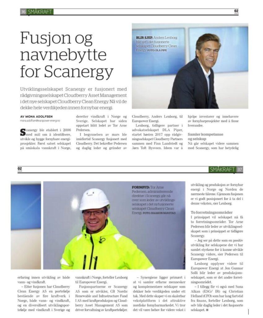 Europower Energi mars 2020 fusjon artikkel